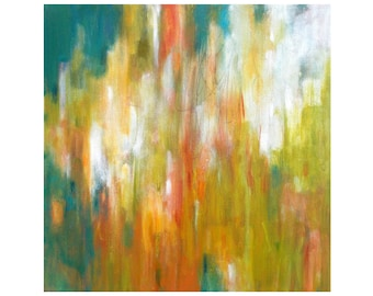 Square Abstract Art, Original Abstract Painting, Canvas Wall Art, Contemporary Home Decor, 12x12 olive green teal orange rust red white