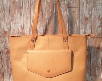 Ladies Italian Leather Tote Bag in Natural Tan