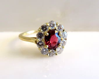 Mixed Oval Cut Red Spinel and Diamond ring.