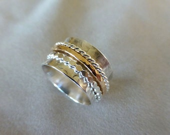 Sterling Spinner Ring, Meditation Ring, Wide Band Ring, Sterling and Gold Spinner Ring, Size 8, Sterling Silver Ring
