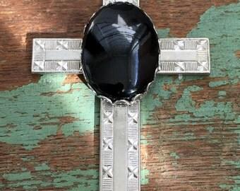 Vintage Pendant Necklace Silvertone Cross Necklace Black Glass Southwestern