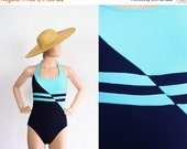 NEW YEARS SALE Vintage One Piece Swimsuit / Mod Op Art Geometric Print Bathing Suit Onesie / Halter Straps Beach Wear / Size 10 / Small / Me