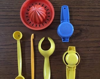 Tupperware Gadgets, Blue Sifter, Yellow Egg Lifter, Yellow Egg Separator, Yellow Melon Baller, Citrus Juicer, Yellow Peeler, Retro Kitchen