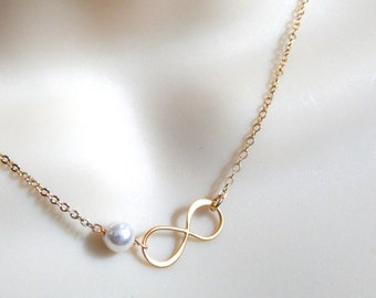 Infinity Necklace, Gold Filled Infinity Necklace with Pearl, Sideways Infinity, Bridesmaids Gifts, Wedding Jewelry, Mothers Necklace