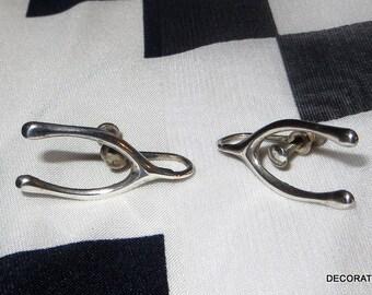 Wishbone Good Luck Sterling Silver Earrings Screw Back On