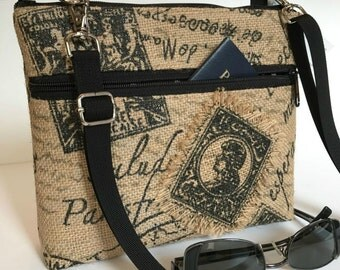 Kay Bag, By Marilyn, clutch, purse, handbag, messenger, removable strap, cell phone, electronic, Marilyn, travel, Burlap