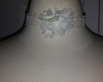 Creme Lace Choker w/ chiffon flower/ creme choker