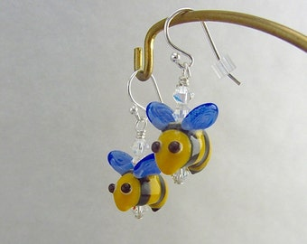 Bumble Bee Earrings - Handmade Lampwork Bead Art - SRA