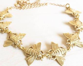 Bee Necklace Gold Honeybee Jewelry Bumblebee Necklace Gold Bee Gift for Her Bee Jewelry Beehive Insect Necklace Beekeeper Garden Necklace