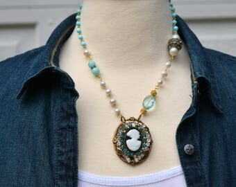 Cameo Necklace, Shell Cameo, Crystal Necklace, Rhinestone Pendant, Assemblage Necklace, Pearls, Aqua Blue Turquoise, Bohemian Necklace