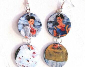 Frida Kahlo connector earrings day of the dead dia de muertos ALTERED ART Mexico OOAK Asymmetrical