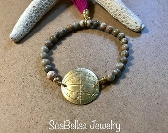 World gold brass connector earth tone color beads, stackable bracelets, stretchy bracelets