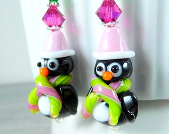 Penguin Earrings, Christmas Earrings, Pink Green Black Holiday Jewelry, Whimsical Bird Earrings, Winter Animal Earrings, Lampwork Glass
