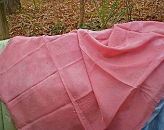 Rose Pink Play Silk--44 by 38 Inches--8 Momme Habotai Fabric--Plant Dyed--Seasonal Table