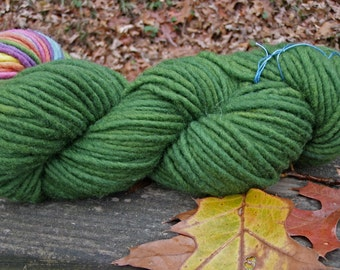 Rich Forest Green-- Bulky Wool Single Ply Yarn--4 Ounce Skein--100 Yards---Plant Dyed