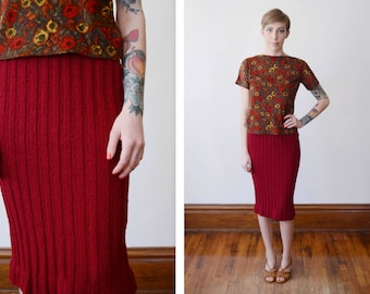 1950s Maroon Knit Skirt - XS/S