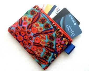 Colorful Kaffe Fasset Fabric Zippered Credit Card Case Womens Card Holder Coin Purse Wallet Business Card Case Millifiore Red Cobalt Blue