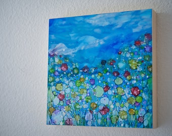 The Blues -  Wildflower Study Series -  Alcohol ink Painting - Abstract Flowers