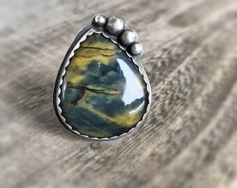 Lion Skin Ring, Sterling Silver Ring, Metalwork Ring, Pietersite Ring, Tigers Eye Ring, Statement Ring, MetalSmith Jewelry, Gift for Women