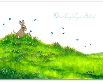 Wildlife Wonders Rabbit - Blue Butterflies - Art Prints by Bihrle wd226