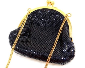 Whiting and Davis Black Metal Mesh Evening Bag with Gold Chain