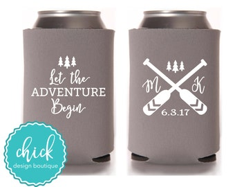 Let the Adventure Begin, Oars, Initials, Date - Custom Can Cooler Personalized Wedding Favor Party Gift Anniversary Favor Shower Favor 3D389