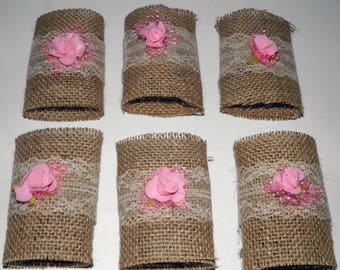 6 Pcs Burlap Napkin Rings. Silverware Holders. Burlap Cultery Holder. Rustic Napkin Rings With Flowers. Wedding Table Decoration.