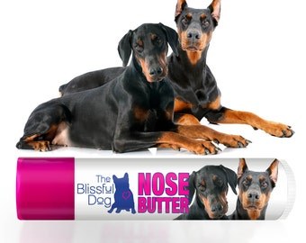 Doberman Pinscher NOSE BUTTER® All Natural Moisturizing Balm for Dry Dog Noses Choice: One .15 oz Tube or 3-Pack .15 oz Tubes Dobie Label
