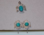 Vintage Sterling and Turquoise Clip on Earrings and Pendant