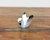 Vintage Swan Figurine - Miniature Bone China Bird - Ceramic Animal