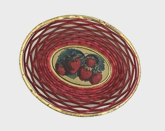 Vintage Tin Strawberry Basket - Kitchen Decor - Red & Gold