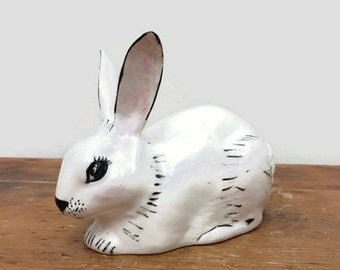 Ceramic Bunny - White Ceramic Easter Decoration - Rabbit Decor - White Rabbit Figurine