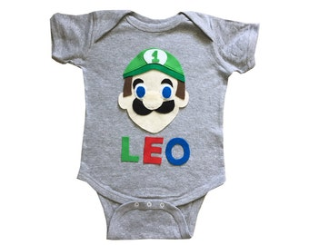 Luigi Birthday Bodysuit - Kids Grey Baby Onesie - Name and Age - Personalized - Gift