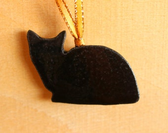 Ceramic CAT Ornament - Handmade Stoneware Black Cat Christmas Ornament - Holiday Decoration - Ready To Ship