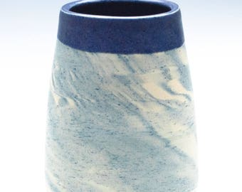 Swirly White/Blue Blended Clay Vase / Paint Brush Holder / Breadstick Holder