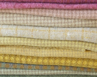 Hand Dyed and Felted Wool Fabric Perfect for Rug Hooking and Applique in a Range if Pastel Tones by Quilting Acres