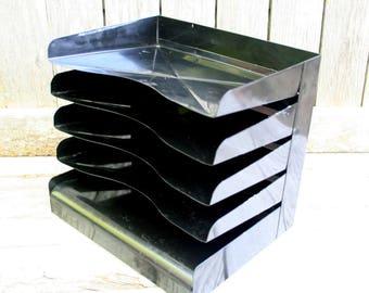 Vintage Metal / Industrial Black Desktop File Organizer