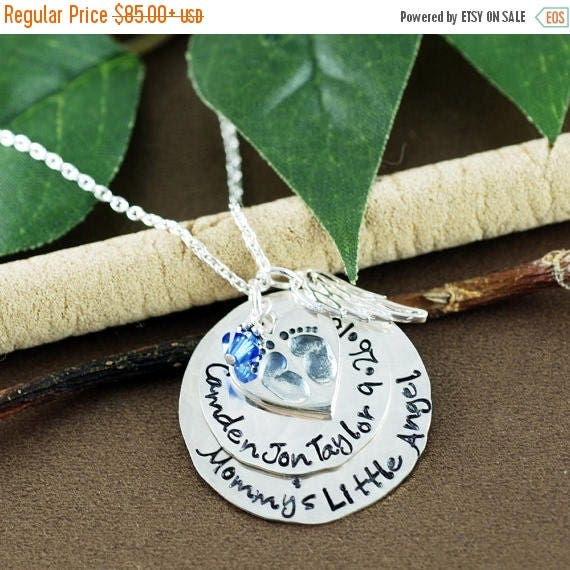 15% OFF SALE Remembrance Jewelry, Memorial Necklace, Hand Stamped Baby Feet Jewelry, Personalized Jewelry, Angel Wing Necklace, Miscarriage