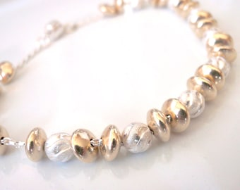 Handmade Silver and Gold Bracelet, Custom Sizes from 8 inches and smaller.