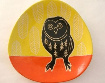 Owl Plate- Yellow Feathers Background