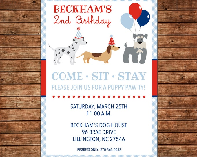 Puppy Dog Pup Pawty Balloons Come Sit Stay Gingham Birthday Invitation - DIGITAL FILE