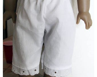 White Pantaloons Bloomers for 18 Inch Doll like American Girl Dolls