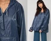 Hooded Jacket 80s Windbreaker Nylon Jacket Pullover Hoodie FOX Blue Shell Half Zip Hipster Coat Vintage 1980s Hood Thin Extra Large xl
