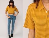 Striped Crop Top Polo Shirt Short Sleeve Shirt 80s T Shirt Grunge Top 1980s Mustard Yellow Cut Off Hipster Retro Tee Vintage Small Medium