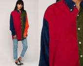 Color Block Shirt 80s Grunge CORDUROY Shirt Oversized Button Up 90s Red Navy Blue Green Print Collar Vintage Long Sleeve Extra Large xl