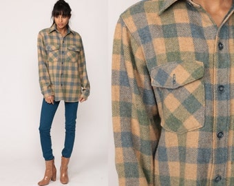 Wool Plaid Shirt LL BEAN Flannel Plaid 70s Grunge Long Sleeve Buffalo Plaid Tan Button Up 1970s Vintage Lumberjack Hipster Retro Large