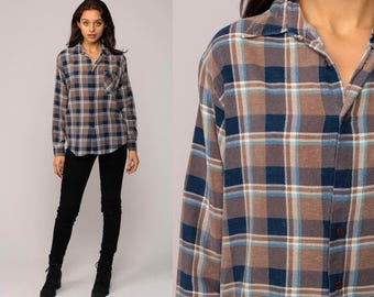 Blue Plaid Shirt 90s Oversized Flannel Button Up Checkered 80s Vintage Long Sleeve Lumberjack Brown Women Men Oversize Small