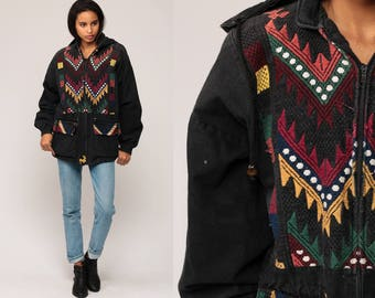 Ethnic Jacket Guatemalan Embroidered HOODIE Jacket Bohemian Anorak Tribal Black Cotton Coat Boho Aztec Hooded Mexican Vintage Small