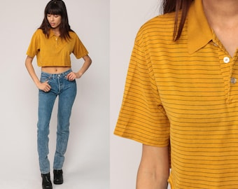 Striped Crop Top Polo Shirt Short Sleeve Shirt 80s T Shirt Grunge Top 1980s Mustard Yellow Cut Off Hipster Retro Tee Vintage Small Medium