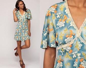 Babydoll Mini Dress Floral Print Dress 70s Boho Empire Waist Blue Lace Trim Garden Party Vintage Flutter Sleeve Bohemian Large